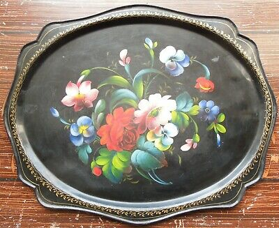 Vintage Toleware Tray with Hand Painted Floral Decoration Barge Ware