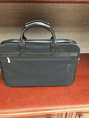 Black Fabric And Leather Briefcase
