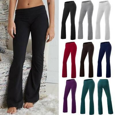 Womens High Waist Yoga Pants Flare Wide Leg Bootcut Workout Gym Stretch Trousers