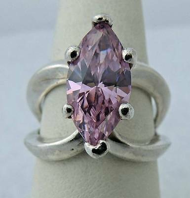 Large Pretty Estate Sterling Silver Marquis Cut Pink Quartz Band Ring Size 7 .25