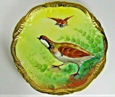 LIMOGES French Plate Antique Porcelain GAME BIRD Wall Plaque Artist FREDI Signed