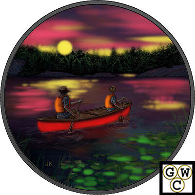 2017 $15 .9999 Fine Silver Great Canadian Outdoors: Sunset Canoeing(18097) (Nt)