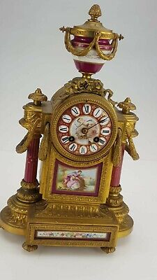 Beautiful mid 19thc eight day French Porcelain Panel mantle Clock