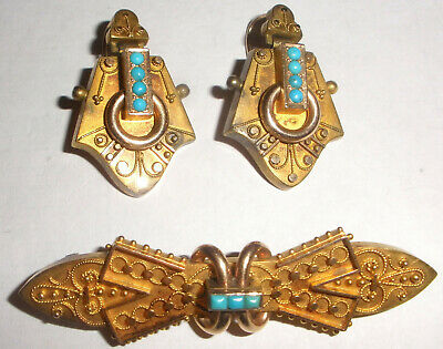 Exquisite Antique Victorian 14k gold Egyptian revival turquoise brooch earrings