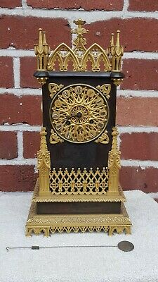 Rare Antique Ormolu and bronze mantle Clock Guyerdet Aine Paris