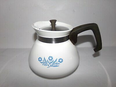 Vintage Corning Ware Cornflower Blue Tea Pot 6 Cup Metal Lid