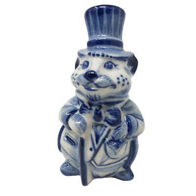 """Symbol of the Year 2020 Gzhel Souvenir Rat in Topper Porcelain Hand Painted 4"""""""