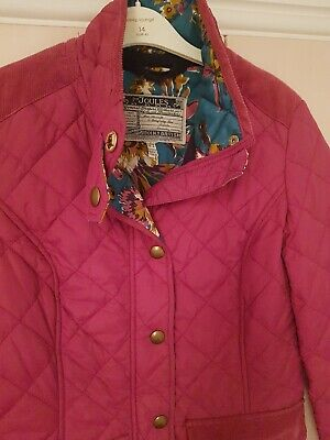 Joules Moredale Quilted Jacket, Size 8, Deep Pink, Coat, VGC