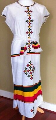 Ethiopian/Eritrean Hand woven & embroidered 100% Cotton dress Ethiopia 3 Pieces.