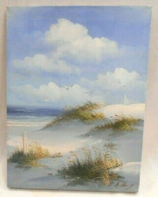 "Vintage Beach Seascape Painting By Anthony Oil on Canvas 16"" x 12"" See Picture"