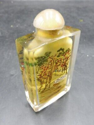Beautiful Vintage Oriental Glass Inside Painted Snuff / Scent Bottle