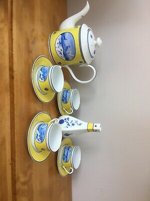 Lynn Chase Costa Azzurra Tea Set 4 Cups 4 Saucers One Teapot And One Vase Vgc