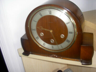 Vintage Deco Smiths Wooden Cased Pendulum Mantle Clock/Westminster Chime +Key WO