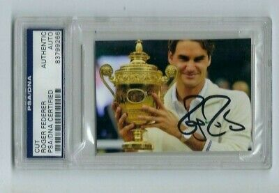 Roger Federer AUTOGRAPHED CUT SW19 PHOTO GOAT -PSA/DNA Certified Authentic AUTO-
