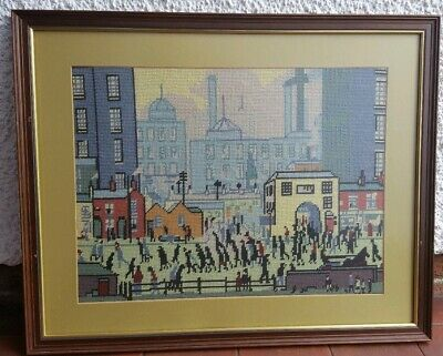 """Completed LS LOWRY Needlepoint Tapestry, Coming From The Mill, 26""""x 21"""" *Framed*"""