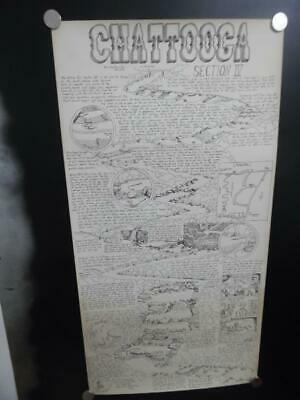 1979 William Nealy Chattooga River Whitewater Paddling Cartoon Map 1st Vintage