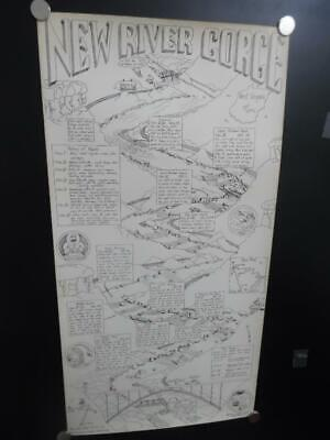 1978 William Nealy New River Gorge Whitewater Paddling Cartoon Map 1st Vintage