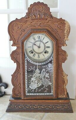 Antique ANSONIA Layton Gingerbread 8 Day CLOCK Wood Kitchen Mantel Wall Glass