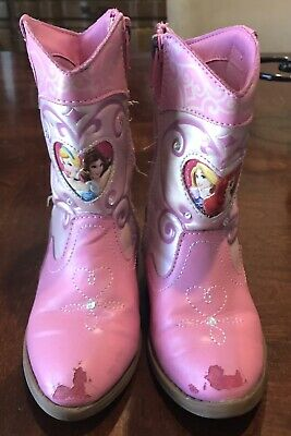 Disney Princess Fur Boots Shoes White Pink Cinderella Belle Snow White Western