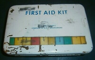 Retro Vintage First Aid Kit - Metal Tin Case Complete With 11 Packs Of Supplies