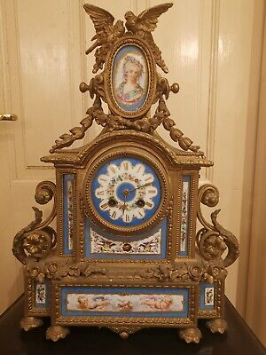 Antique French Ormolu Hand Painted Mantel Clock with Birds