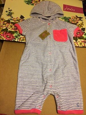 BNWT JOULES Baby Girls 9-12 months All in one stripe Romper Beach cover up