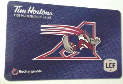 Tim hortons Montreal Allouettes gift card zero balance Mint rechargeable