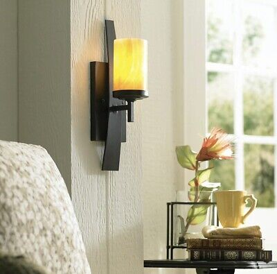 """Quoizel KY8701  Kyle 1 Light 16"""" Tall Wall Sconce with Onyx Shade - Bronze"""
