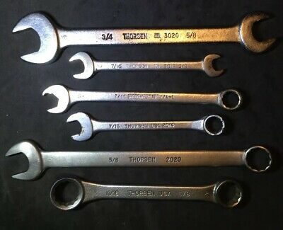 THORSEN TOOLS WRENCH LOT Double Box,Combo,Open End VINTAGE MADE IN USA SAE SET