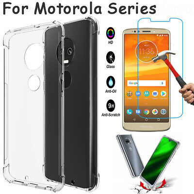 For Motorola Moto E6 E5 G7 +/Z4 Z3 Play Shockproof TPU Clear Case+Tempered Glass