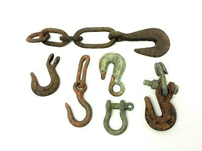 Mixed Vintage & Antique Lot Iron Metal Hooks Chains Hardware Parts Forged USA