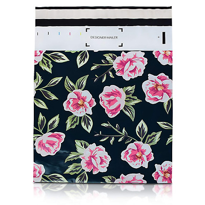 100 Pack 10x13 Pink and Green Flowers Poly Mailers Shipping Envelopes Bags with