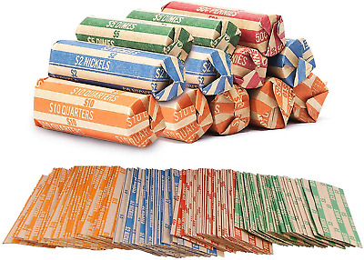 Coin Roll Wrappers -440 Pack Assorted Flat Coin Papers Bundle of Quarters Dimes