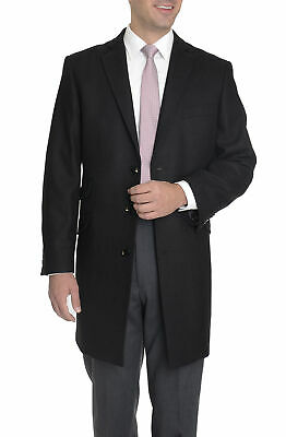 Regular Fit Solid Black Wool Cashmere Blend 3/4 Topcoat With Ticket Pocket-50R