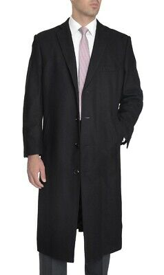 Mens Wool Cashmere Single Breasted Full Length Solid Black Warm Winter Over Coat