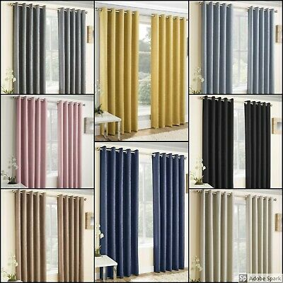 BLOCKOUT Curtains Ready Made THERMAL EYELET Ring Top - 8 COLOURS