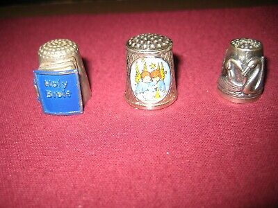 Collectable Thimbles x 3.(inc S/Silver, Ltd Edition, Bible)