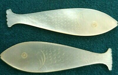 2 Antique Mother of Pearl Gaming Counters Carved Fish Silk Winders Etched  A1