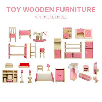 Dollhouse Miniature Wooden Kids Bedroom Table Bed Furniture 6 Rooms Set Gifts