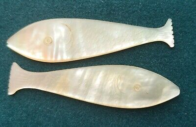 2 Antique Mother of Pearl Gaming Counters Carved Fish Silk Winders Etched  A2