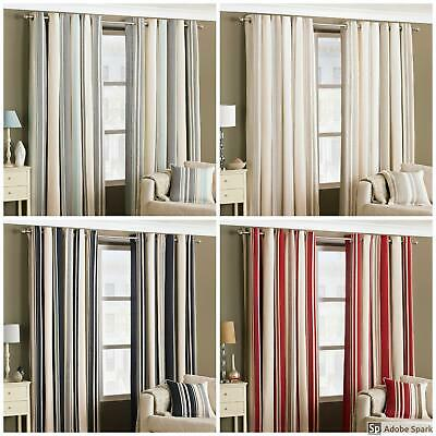 Broadway - VERTICAL STRIPE Ready Made Lined Curtains EYELET Ring Top