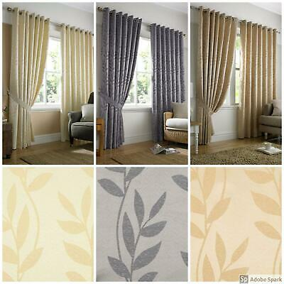 Tivoli - JACQUARD LEAF PATTERN Ready Made Curtains EYELET Ring Top