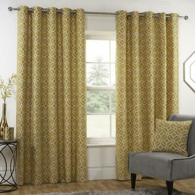 Kelso - GEOMETRIC PATTERN Lined EYELET Ring Top Curtains - NAVY OCHRE YELLOW