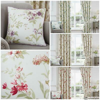 Jeannie - FLORAL PATTERN Ready Made FULLY LINED Curtains Pencil Pleat TAPE TOP