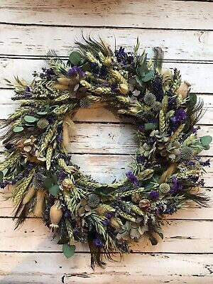 Dried Flower Christmas Door Wreath With Peacock Feathers Flowers For Weddings