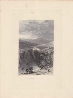 High Force of the Tees, Durham, Stahlstich 1836 von S. Lacey nach T. Allom mit B