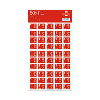 50 X Large Letter 1st Class Stamps - Brand New - Self Adhesive Red Stamps