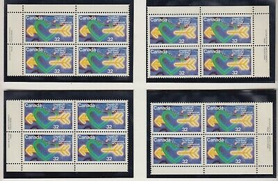 MATCHED SET PLATE BLOCKS 1045MNH 32c x 16 UNITED NATION INTERNATIONAL YOUTH YEAR