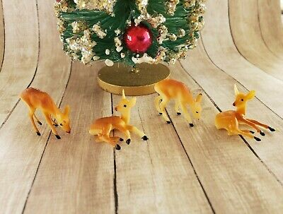 4 Vintage Dollhouse Miniature Tiny Plastic Deer Christmas Decor NOS