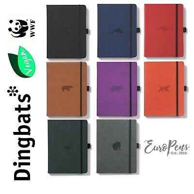 Dingbats* Wildlife A5 PU Leather Hardcover Notebook - Dotted - Choose Colour